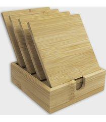 bambusowe podkładki pod kubek - zestaw 4 sztuk (gładkie, bez nadruku)