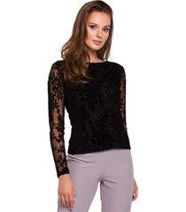 blouse makover k024 flock kanten blouse - zwart