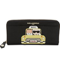 patch graphic faux leather continental wallet