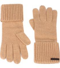 women's allsaints cuffed knit gloves, size one size - beige