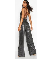tall strappy cut out back sequin jumpsuit, silver