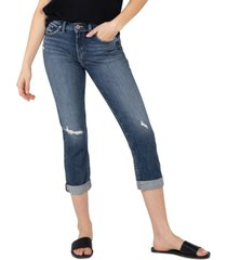 silver jeans co. avery ripped cropped jeans
