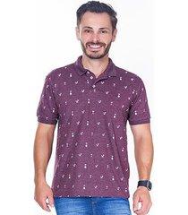 camisa polo hiatto manga curta estampada coqueiro/caveira masculina