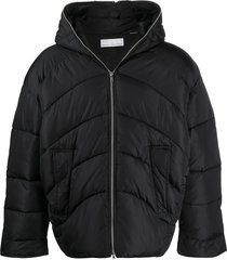 random identities short padded jacket - black
