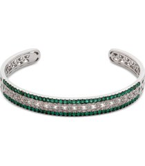 certified ruby (1-3/4 ct. t.w.) & diamond (1/10 ct. t.w.) bangle bracelet in sterling silver (also available in emerald & sapphire)