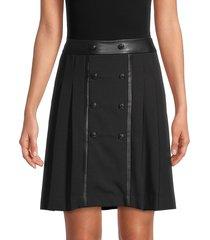 karl lagerfeld paris women's button-front pleated skirt - black - size 2