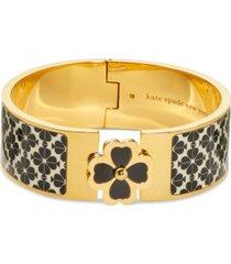 kate spade new york gold-tone black & white spade flower hinge bracelet