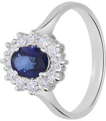 anello in oro bianco, zaffiro 1,00 ct e diamanti 0,36 ct per donna
