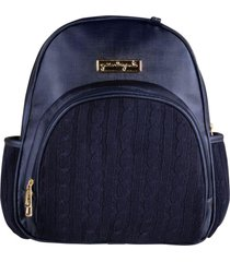 mochila maternidade azul marinho tricot grão de gente azul