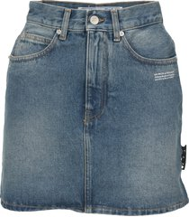 off white high waist denim skirt