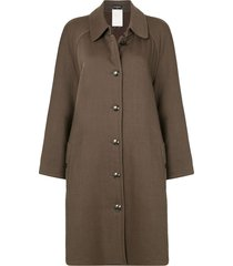 chanel pre-owned straight-fit knee-length coat - brown