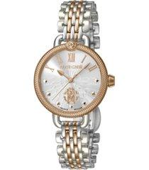 roberto cavalli by franck muller women's swiss quartz two-tone rose gold stainless steel bracelet watch, 30mm