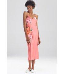 natori peony blossoms embroidered silk nightgown sleep pajamas & loungewear, women's, 100% silk, size m natori