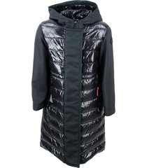moncler 100 gram xenie lightweight coat in nylon and technical fabric with hood with logo on the sleeve