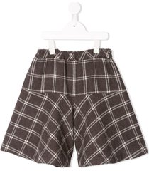 familiar check flared shorts - brown