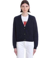 ganni cardigan in blue wool