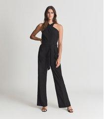 reiss jessie - cotton halterneck jumpsuit in black, womens, size 12