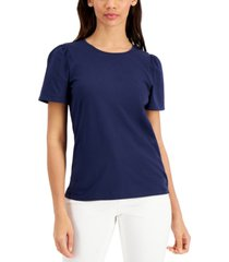 charter club cotton puff-sleeve top, created for macy's