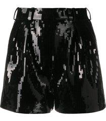 saint laurent sequin-embellished shorts - black