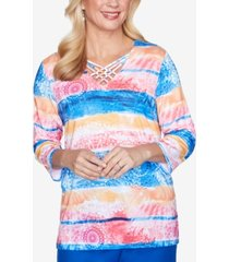 alfred dunner 3/4 sleeve watercolor medallion striped knit top with lattice neckline