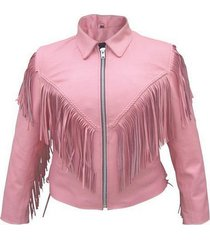 new women pink handmade pink fire cowboy genuine leather jacket with leather fri