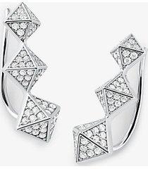 mk orecchini ear cuff in argento sterling con placcatura in metallo prezioso pavé e piramidi - argento (argento) - michael kors