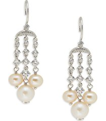 adriana orsini women's juliet rhodium-plated sterling silver, 6-8mm freshwater pearl & cubic zirconia chandelier earrings