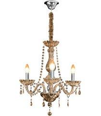 lustre clássico para 3 lâmpadas âmbar