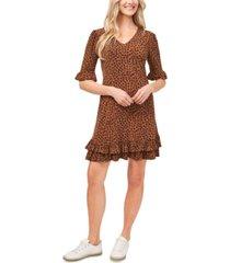 cece leopard-print ruffled dress
