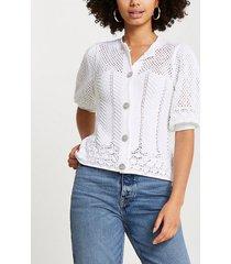river island womens white crochet diamante button cardigan