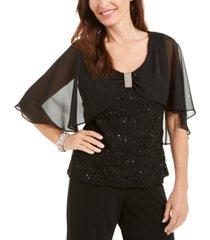 r & m richards sequin & lace bow-detail top