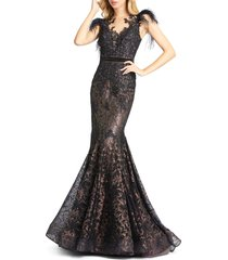 women's mac duggal illusion sequin lace feather sleeve mermaid gown, size 14 - black