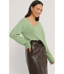 na-kd asymmetric neckline knitted sweater - green