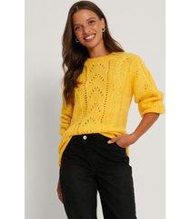 trendyol mönsterstickad tröja med lång ärm - yellow
