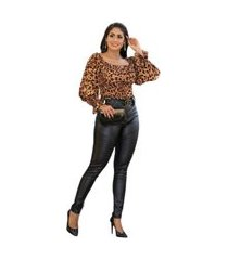 calça disco hot pants tratorada cirre legging na cor preta cintura alta