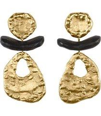 natori 24k goldplated brass with darkwood cutout clip earrings, women's