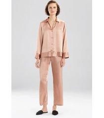 key essentials notch collar pajamas, women's, red, 100% silk, size xs, josie natori