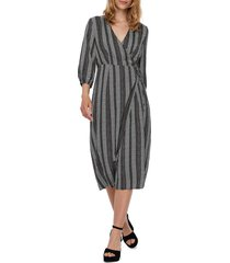 women's vero moda juna stripe wrap midi dress, size small - blue
