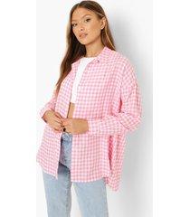 oversized gingham overhemd met textuur, pink