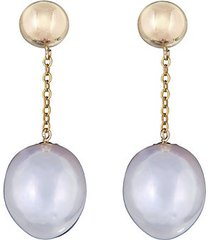 14k yellow gold & 11mm oval freshwater pearl drop earrings