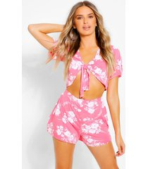 ditsy floral tie floral top & skirts co-ord, coral