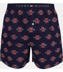 tommy hilfiger men's cotton classics woven boxer navy blazer logo print - xxl