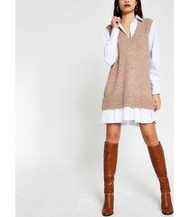 river island womens beige long sleeve hybrid shirt jumper dress
