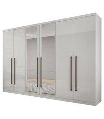 roupeiro novo horizonte bari c/espelho 6 portas 6 gavetas branco