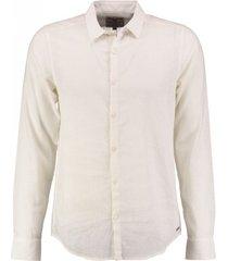 garcia broken white slim fit overhemd 55% linnen valt kleiner