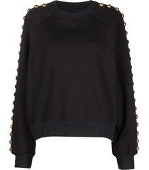 cynthia rowley saturday studded-sleeve sweatshirt - black