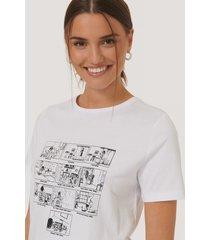 na-kd tryckt t-shirt - white