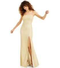 b darlin juniors' glitter-knit gown with mesh back, created for macy's