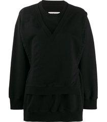 mm6 maison margiela tie-waist layered sweatshirt - black