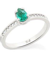 anel skinny ring zircônias e cristal verde rommanel